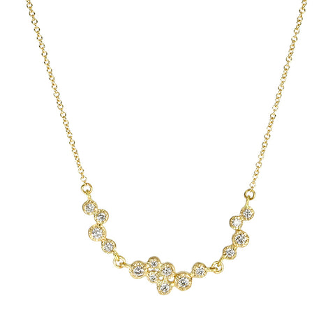 Gold Three Bezel-Set Diamond Cluster Necklace