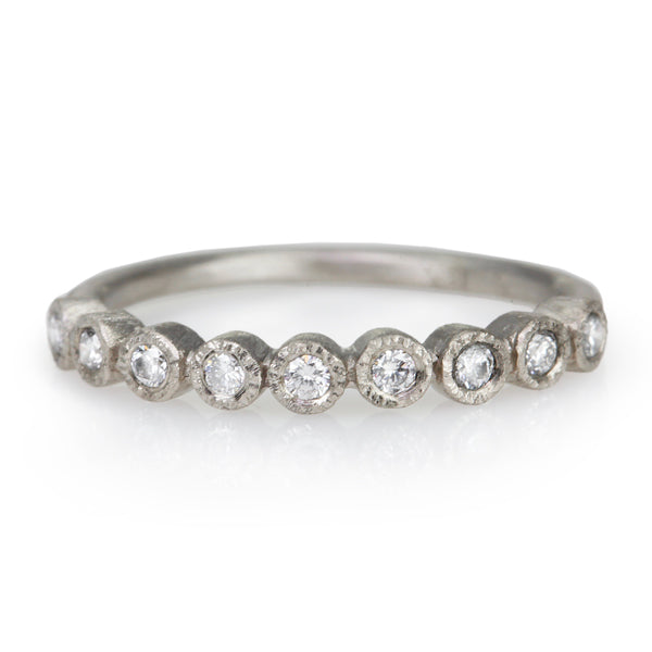 White Gold and 9 Bezel-Set Diamond Ring