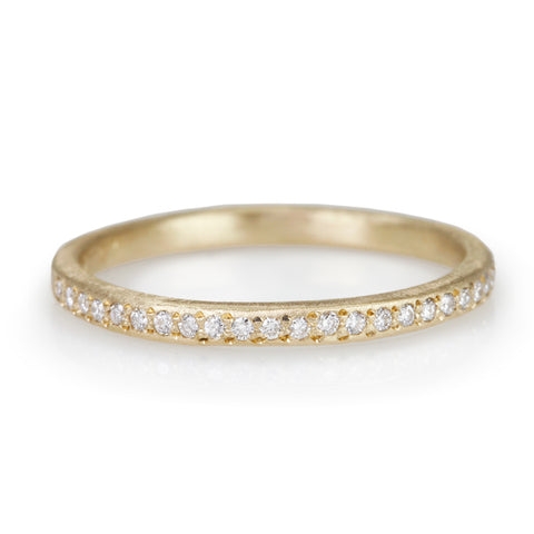 Gold and Pave Diamond Halfway Eternity Band
