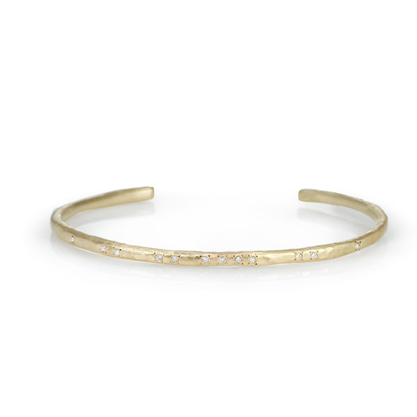 Gold and Diamond Textured Cuff Bracelet