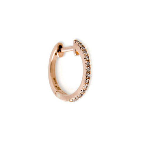 Rose Gold Pave Diamond Mini Hoop Earring