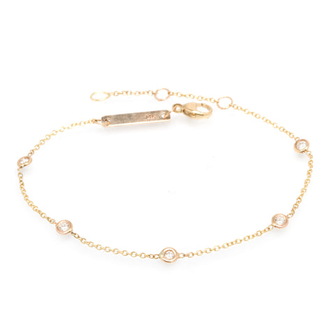 Gold and 5 Diamond Chain Bracelet