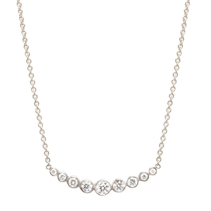 White Gold and 9 Graduated Diamond Necklace