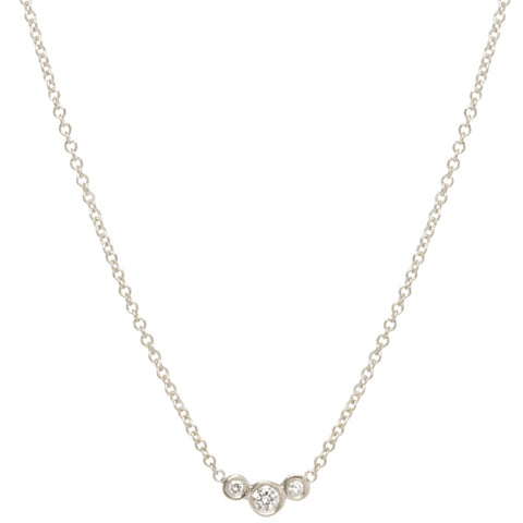 White Gold and 3 Diamond Necklace