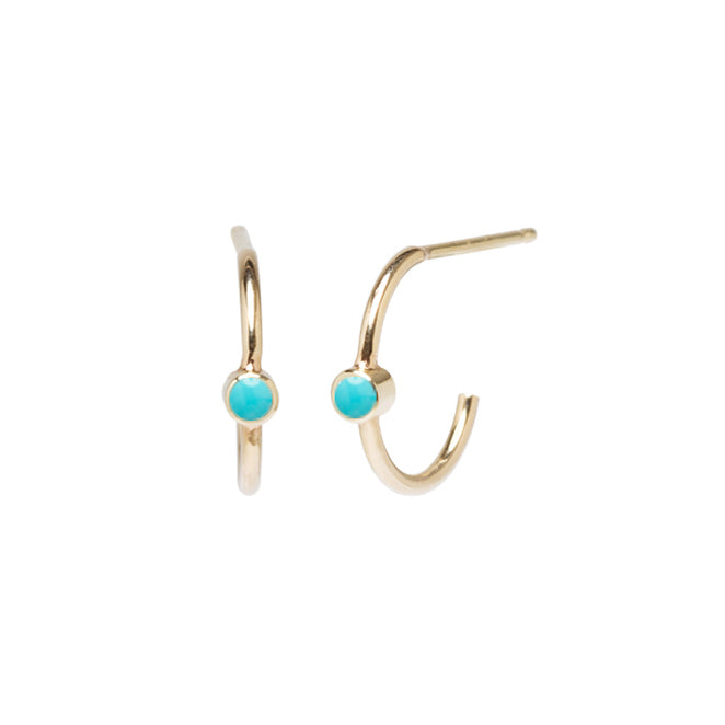 Zoe Chicco Gold Huggie Hoops with Bezel-Set Turquoise Center