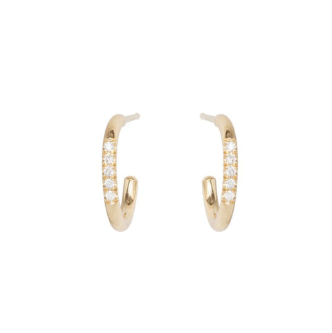 Gold Huggie Hoop Earrings with 5 Pave Diamonds