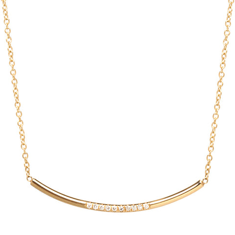 "Gold Curved ""Round Wire"" Bar Necklace with Diamonds"