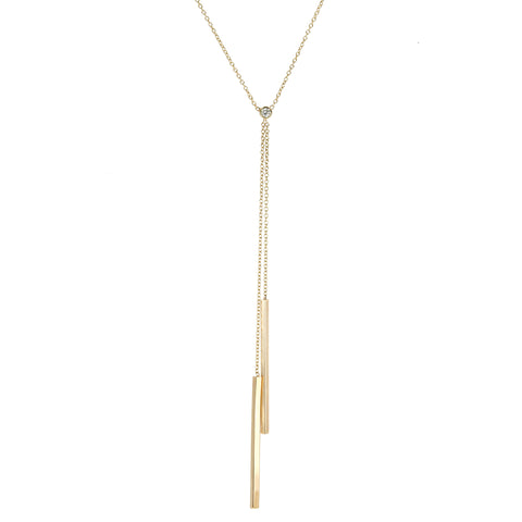 Zoe Chicco Two-Bar Lariat Necklace with Diamond Detail