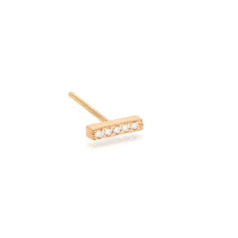Gold and Pave Diamond Tiny Bar Post Earring