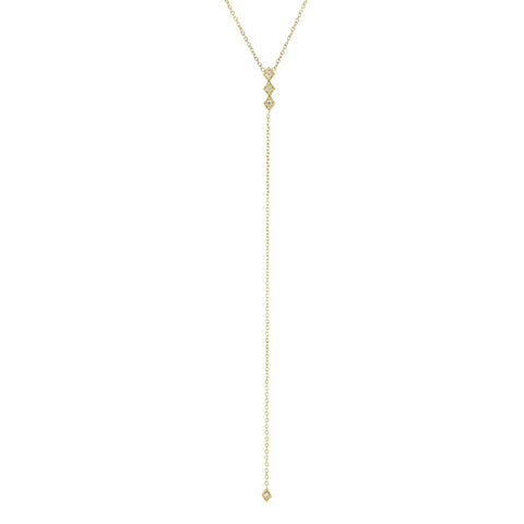 Gold and Diamond-Shaped Lariat Necklace with Diamonds