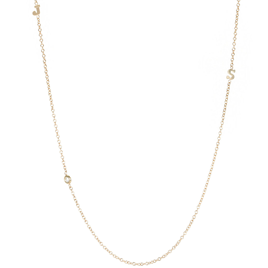 "Gold Initial Necklace with ""Floating"" Diamond"