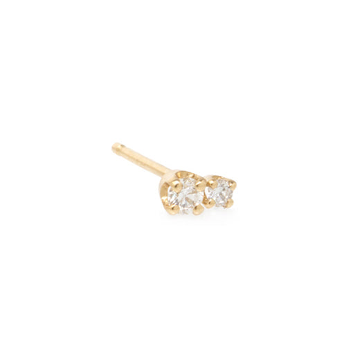Gold Prong-Set Two Round Diamond Stud Earring