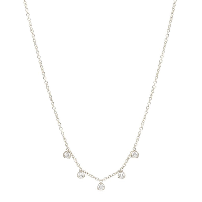 Zoe Chicco White Gold 5 Prong-Set Diamond Necklace