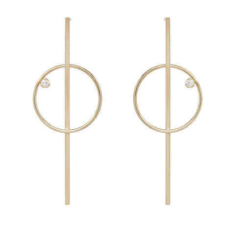 Gold Bar and Circle Post Earring with Diamonds