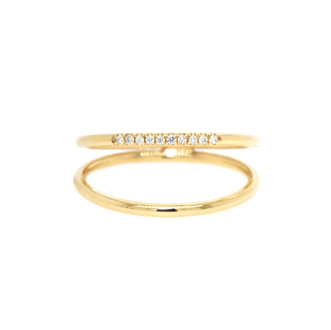 "Gold ""Double Band"" Ring with Pave Diamonds"