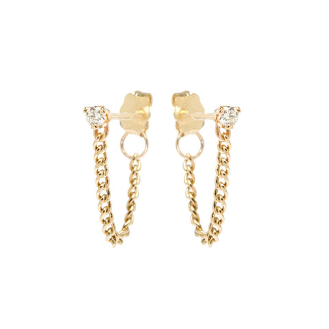Gold and Diamond Studs with Front-To-Back Curb Chain