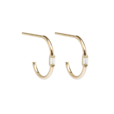"Gold ""Huggie"" Hoops with Vertical Baguette Diamond Center"