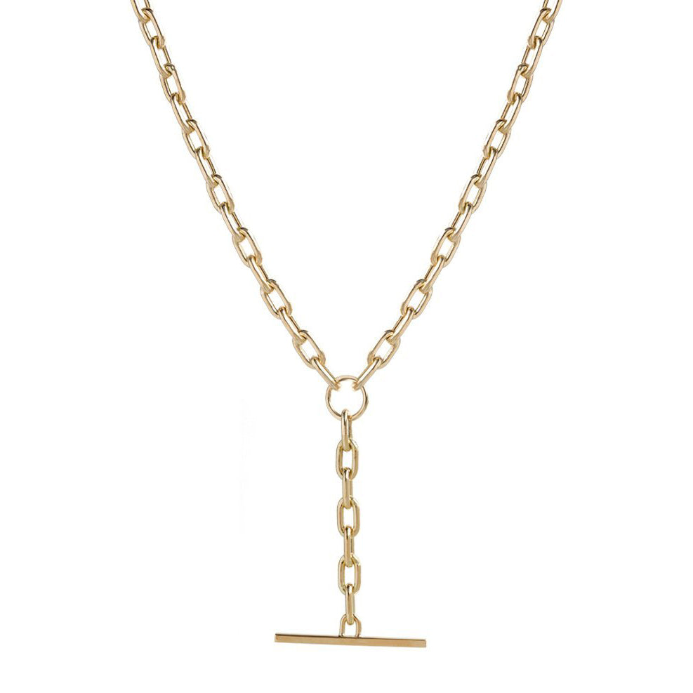 "Gold Chain Necklace with ""Faux Toggle"" Drop"