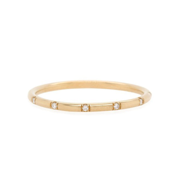 Gold Ring with 12 Spaced Bead-Set Diamonds