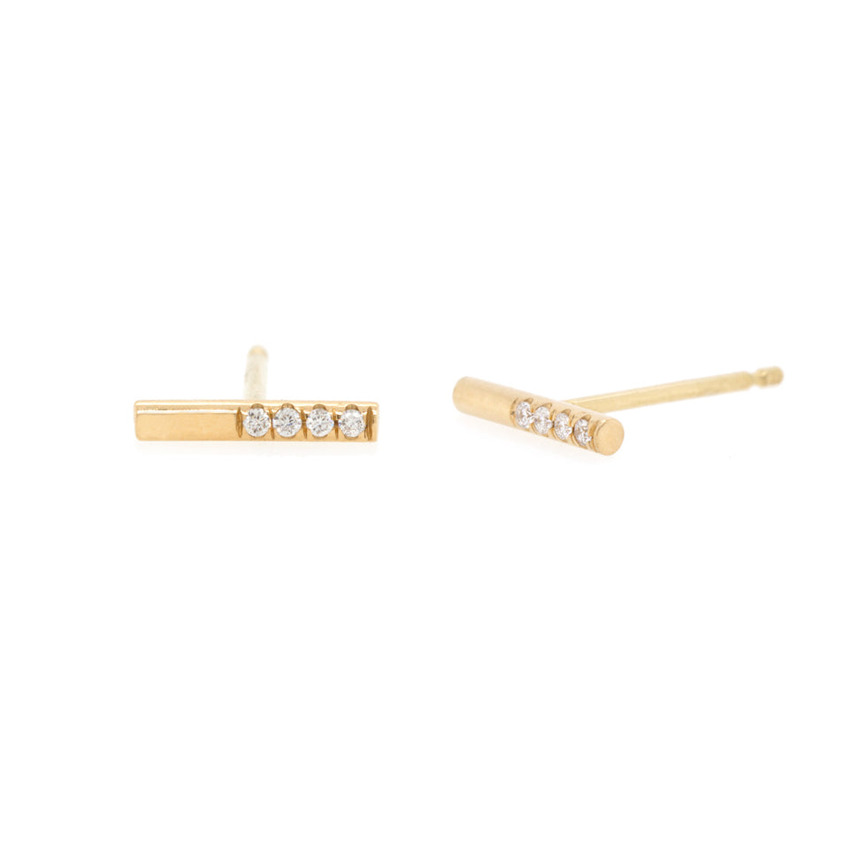 "Gold ""Round Wire"" Bar Stud Earrings with Diamonds"