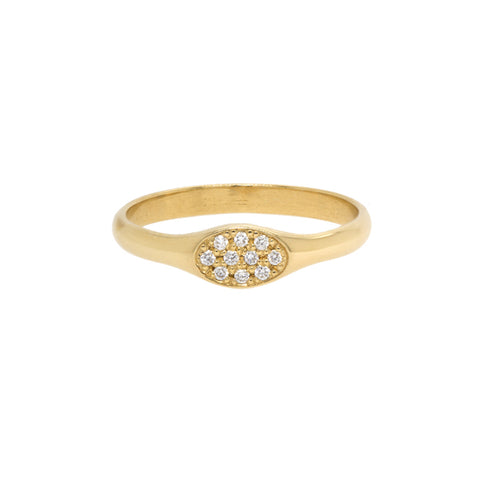 "Gold Small Oval ""Signet"" Pinky Ring with Pave Diamonds"