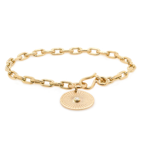"Gold Oval Link Bracelet with ""Sunbeam Medallion"" Charm"