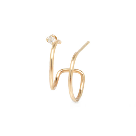 Gold Double Hoop Huggie Earring with Diamond