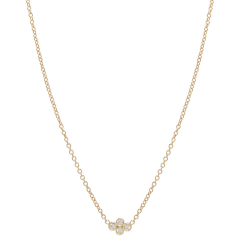 Tiny Diamond Quad Necklace on Gold Chain