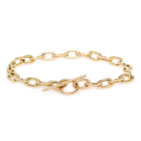 Gold Extra Large Link Bracelet with Pave Diamond Toggle Clasp