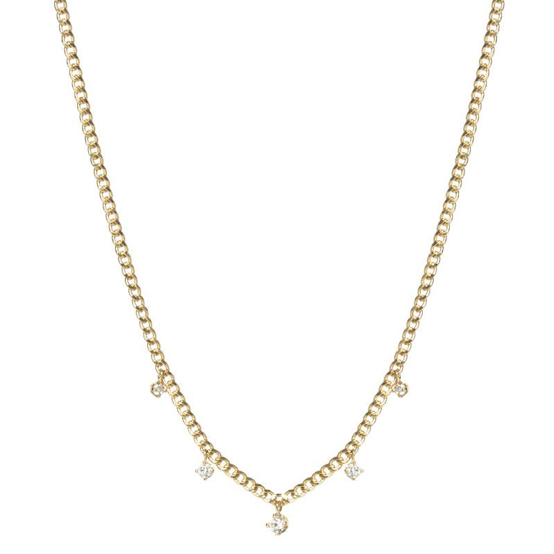 Gold Curb Chain Necklace with 5 Diamond Dangles