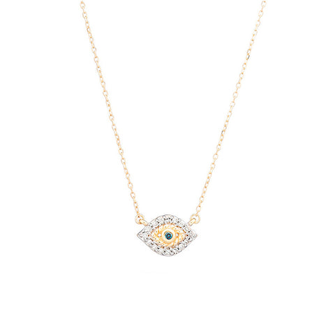 Adina Reyter Gold and Diamond Evil Eye Necklace with Sapphire