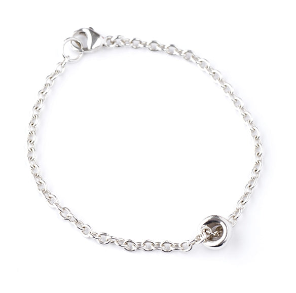 "Sterling Silver Chain Bracelet with Tubular ""Lucky Stone"""