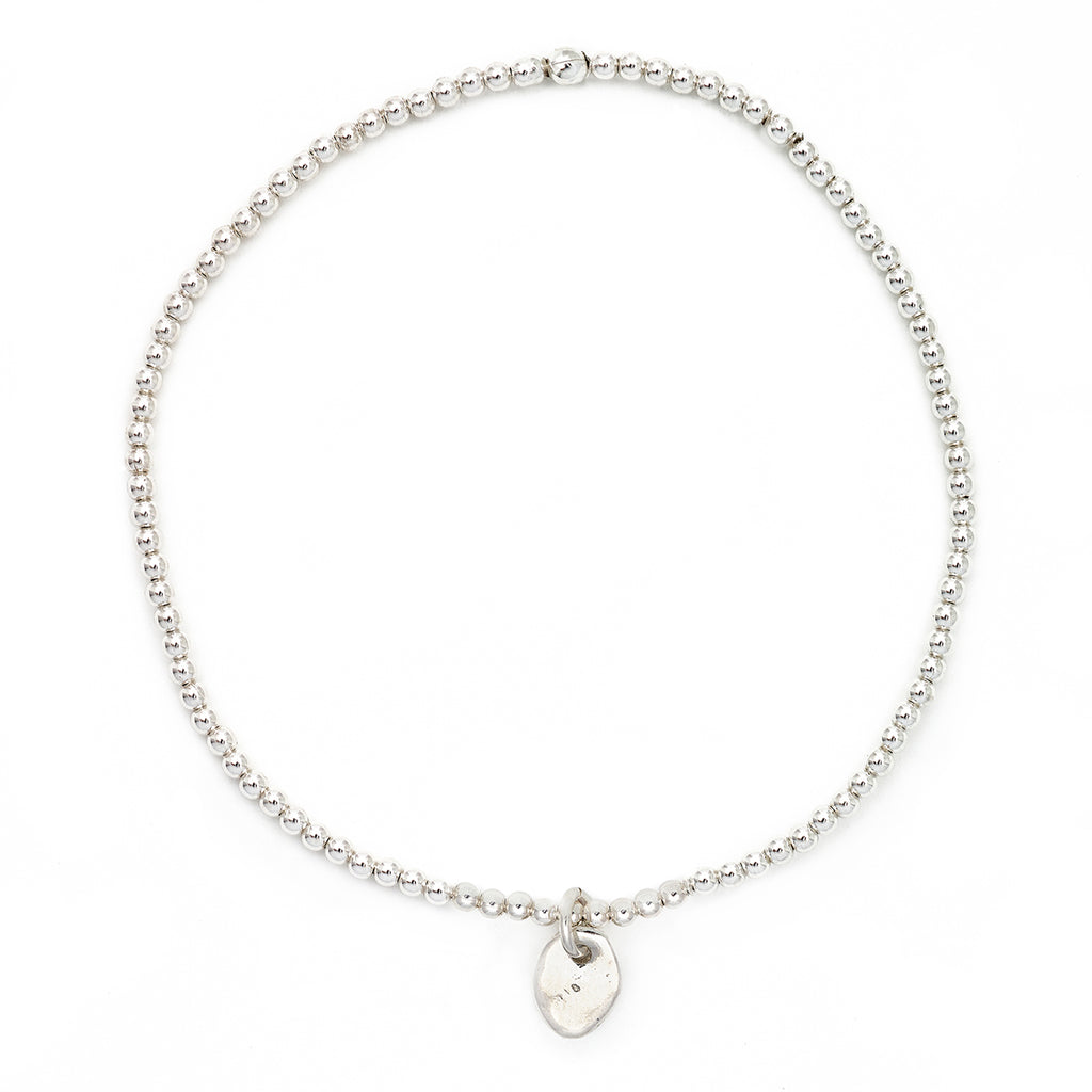 "Johanna Brierley Silver Small Stretch Bracelet with ""Penguin"" Lucky Stone"