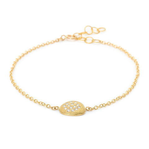 "Gold and Pave Diamond ""Petal"" Charm Bracelet"