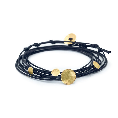 Waxed Linen Bracelet with Four Hammered Gold Discs