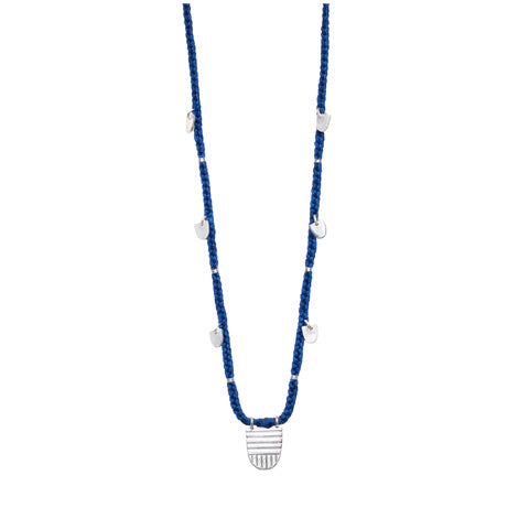 "Sterling Silver ""Buddhist Flag"" Necklace on Extra Long Lapis Cotton Cord"