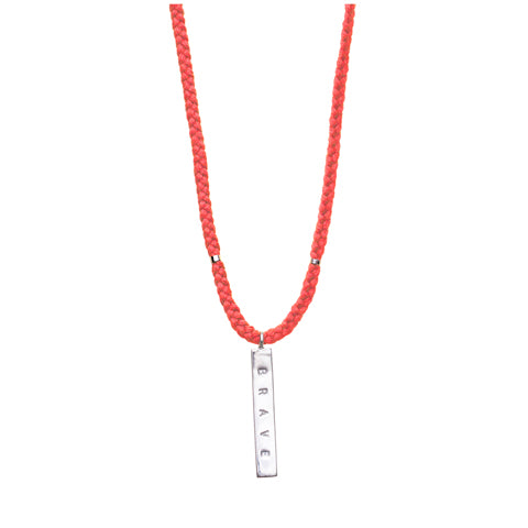 "The Brave Collection Sterling Silver ""Brave"" Necklace on Sunset Cotton Cord"