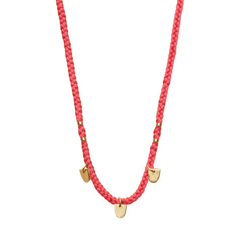 "Gold Vermeil ""Buffalo Tooth"" Necklace on Watermelon Cotton Cord"