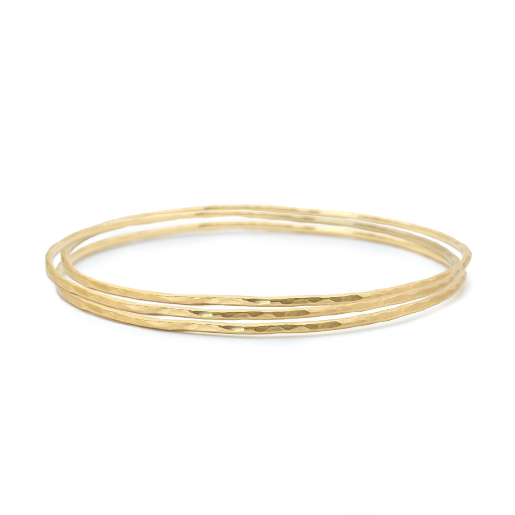 Set of Three Gold Thin Hammered Bangles