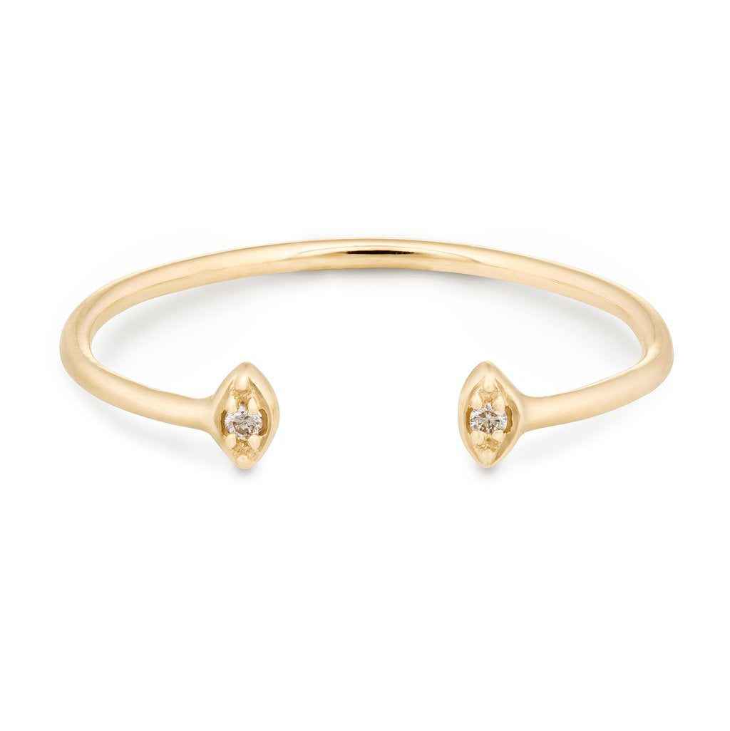 "Celine Daoust Gold Open Small Diamond ""Eyes"" Ring"