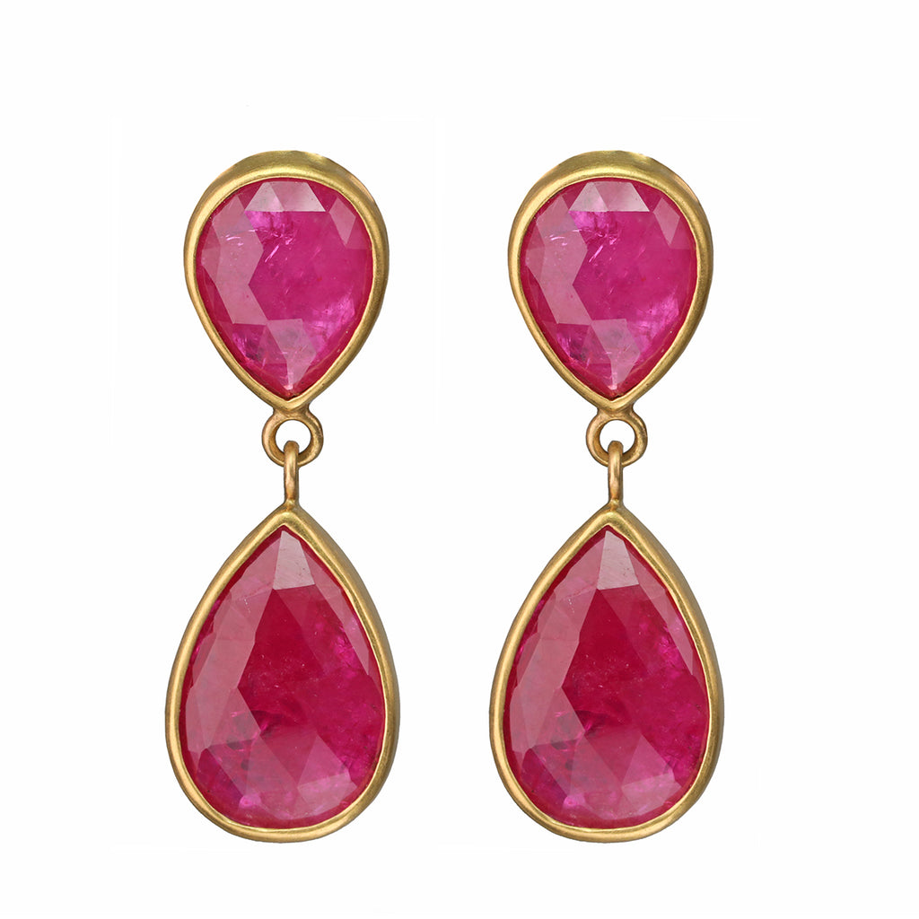 Caroline Ellen 20 and 22K Gold Double Pearshape Rosecut Ruby Earrings
