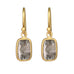 Caroline Ellen 22K Gold Bezel-Set Frosty Grey Rectangular Diamond Slice Earrings