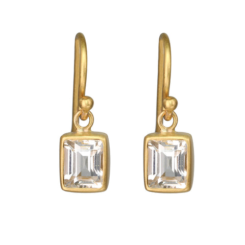 Caroline Ellen 22K Gold Bezel-Set White Sapphire Baguette Drop Earrings