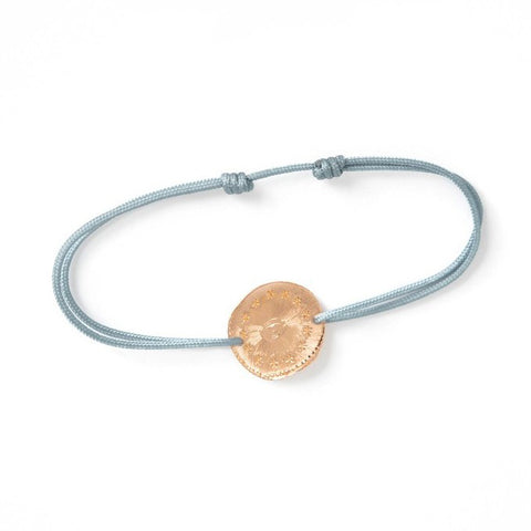 "Tiny Om Rose Gold ""Cosmic Eye"" Disc Bracelet on Blue Cord"