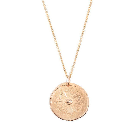 "Tiny Om Rose Gold ""Cosmic Eye Medal"" Disc Necklace"