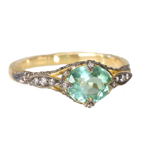 "Cathy Waterman 22K Gold & Pave Diamond Green Tourmaline ""Petal Side"" Ring"