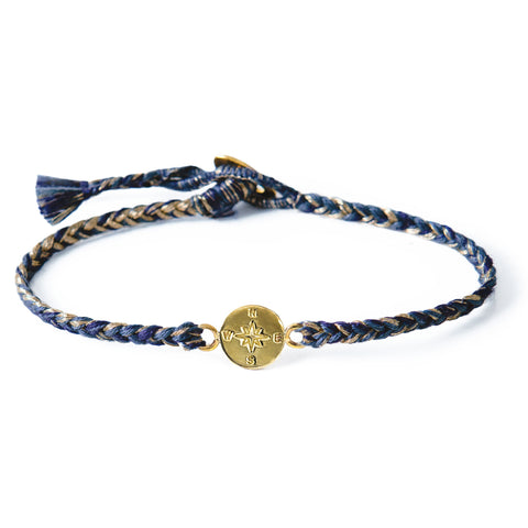 "Brass ""Compass"" Bracelet on Deep Blue Mix Cotton Cord"