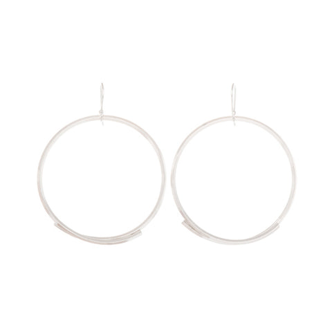 "Sterling Silver Large ""Stick Circle"" Earrings"