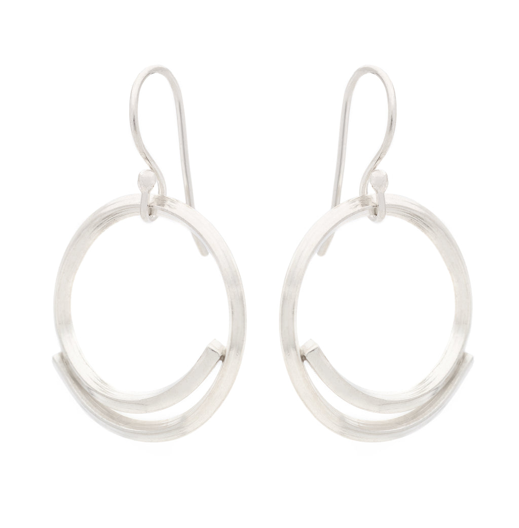 "Johanna Brierley Silver ""Square Stick"" Open Circle Earrings"