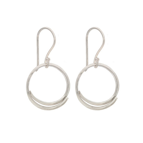 "Silver ""Square Stick"" Hoop Earrings"